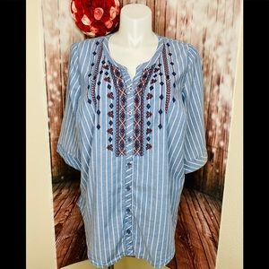 Catherine's 1X striped shirt with embroidery